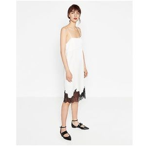 ZARA STUDIO White Satin Slip Dress Black Lace Trim